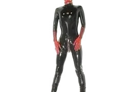Japanese Girl Bound in Rubber Catsuit