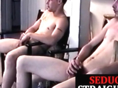 Straight twinks cocksucked by daddy in trio