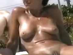 New Ugly pussy closeup on nudist beach