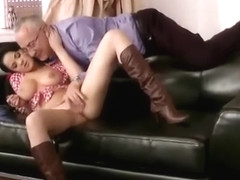 Lucky old man plays with young pussy
