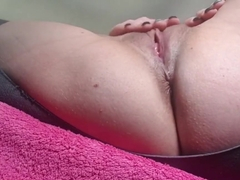 Horny milf masturbates to orgasm in public parking lot for the first time