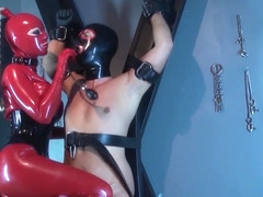 The Lovely Latex Lucy in red catsuit part 2