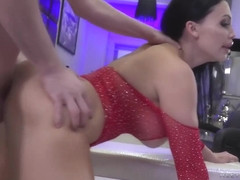Big ass brunette with sensual lips is sucking dick and spreading up to get stuffed with it