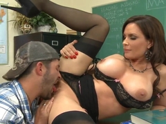 Attractive milf Diamond Foxxx teaching Kris Slater