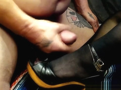 Worship and Cum on Retro Wood High Heel Sandals with Black Pantyhose
