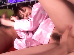 Alluring small titted asian young girl Rina Rukawa gives a magic BJ