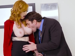 Hot secretary gets too horny at work to stay unfucked