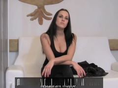 Raven haired babe gets her shaved pussy covered in spunk