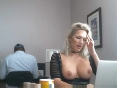 Blonde MILF working at her husbands office while getting