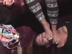 lesbian Foot worshiped & gagged