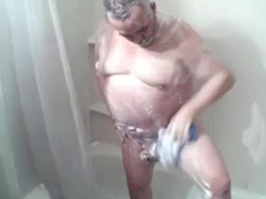 big balls grandpa get his shower