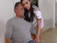 Horny Daughter Fucks Step dad On Table - Gianna Dior
