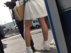 Amateur upskirt clip with cute bodycolor pantyhose