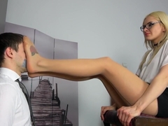 Slave lick polish mistress nylon feet
