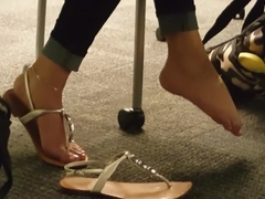 Latina Teen Candid Feet in the library