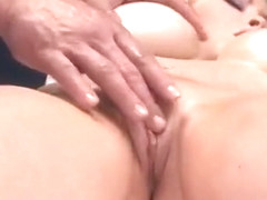 Blonde bombshell Candy Manson is oiled up  fucked by her masseur