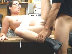Slut with glasses fucked by pawnshop man in the office