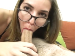 Sexy nerd in glasses loves to suck cock and swallow