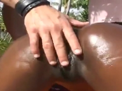Unbelievable underwaight black Angie is sucking cock