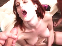 Huge dicks in all holes of redhead