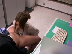 Cute office lady enjoys giving hot blowjob