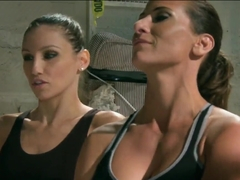 Lesbian fighters Adrianna Luna and Ariel X enjoy the orgy