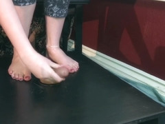 Chastity Cockbox Tease & Release, Shoejob Cumshot On Ballet Flats