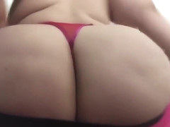 Carlycurvy teases in short hot pink skirt and g string
