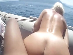 Hot blonde gets fucked and covered in cum on a boat