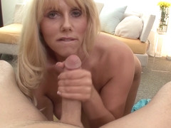 Blonde big tits Karen Fisher sucks dick