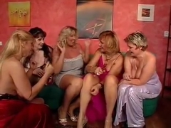 Orgy with busty matures