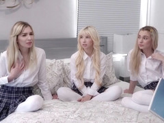 A nice foursome with three blonde teens