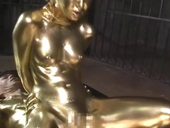 Gold Bodypaint Fucking Japanese Porn
