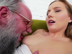 Teen cummed by old perv
