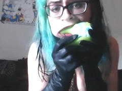 Goth Babe cat fucks dragon dildo