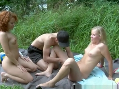 Sexy teens gets facialized outdoors