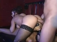 2 hot chicks share a cock
