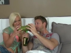 Racy golden-haired mature woman Whitney Grace is giving a blowjob