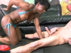 Teasing ebony experienced woman fucked by a blacked guy