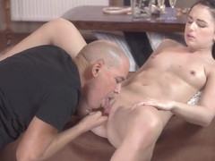 OLD4K. Dark-haired Kittina Ivory is happy to make love to old man
