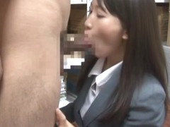 Kozue Hirayama hot Asian milf in an office suit