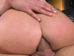 Lexy Little gets two beefy boners clogged in her tight holes making her moa...
