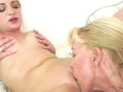 Lesbian granny Szuzanne eats out hot blonde Anastasia Blonde