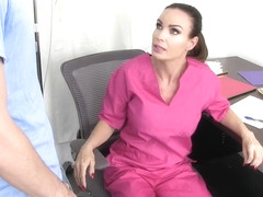 Dirty minded brunette with big tits, Diamond Foxxx got fucked in the hospital after sucking dick
