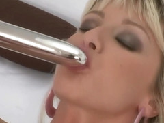 Sexy European Blonde fucks her tight pussy with a dildo