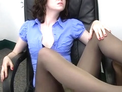 Office Footjob in Pantyhose