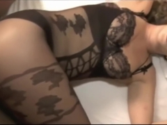 Milf in bodystocking gets creampie