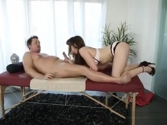 Luscious Brunette Masseuse Alison Rey Drilled By Her Client