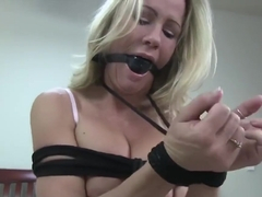 Simone Sonay Tied in Bed Gagged and Drooling