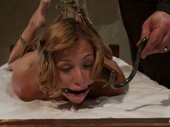 Helpless Blonde In Hogtie Struggling Through Orgasm After Orgasm. - HogTied